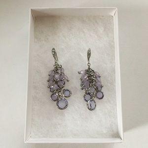 INC Silver Shaky Purple Bead & Stone Drop Earrings